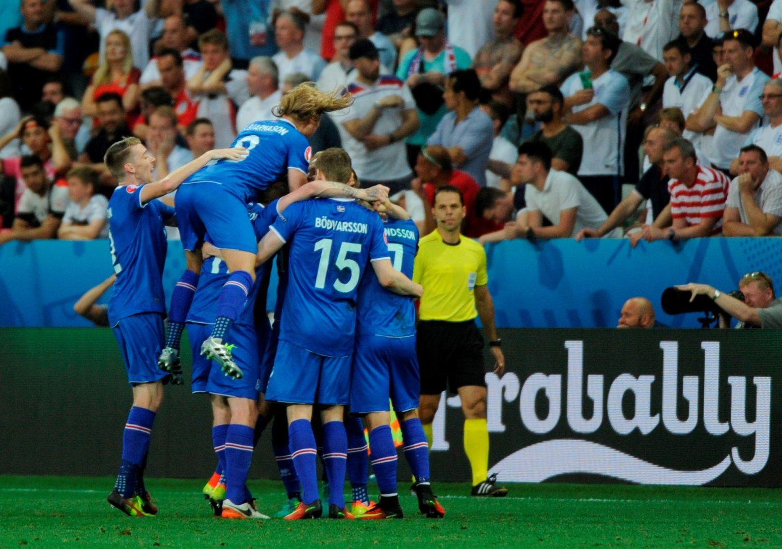 Iceland National Football team scoring on Euro 2016