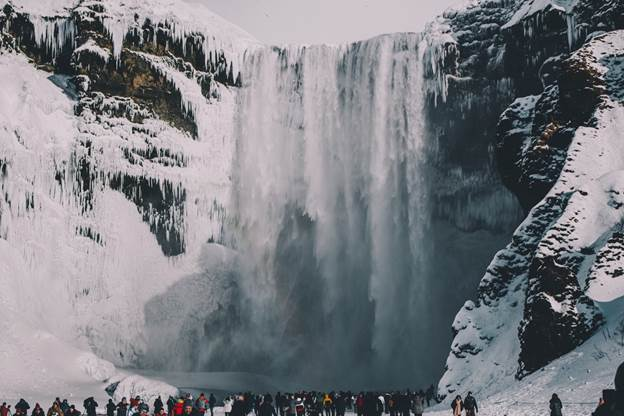 Waterfalls in Iceland: Skógafoss Waterfall winter time