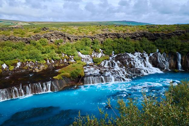 Waterfalls in Iceland: Hraunfossar Waterfall Iceland