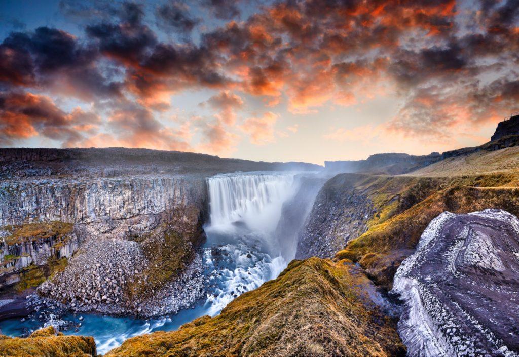 The famous Goðafoss waterfall lies between Lake Myvatn and Akureyri